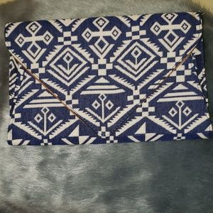 Street Level Navy And White Clutch Bag